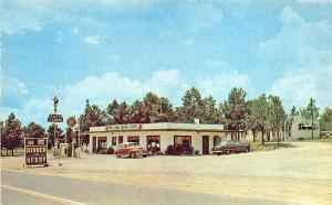 Roberta GA Sinclair Gas Pumps Station Pine Lawn Motor Court & Cafe Postcard