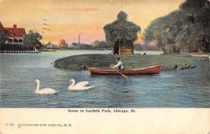 Chicago Illinois~Swans & Canoe on Garfield Park Pond~Fancy Ivy Bldg c1910