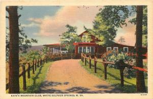 White Sulphur Springs West Virginia~Kates Mountain Club~1940s Postcard