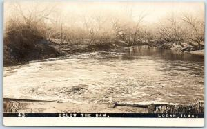 Logan, Iowa RPPC Real Photo Postcard BELOW THE DAM Boyer River Scene 1911
