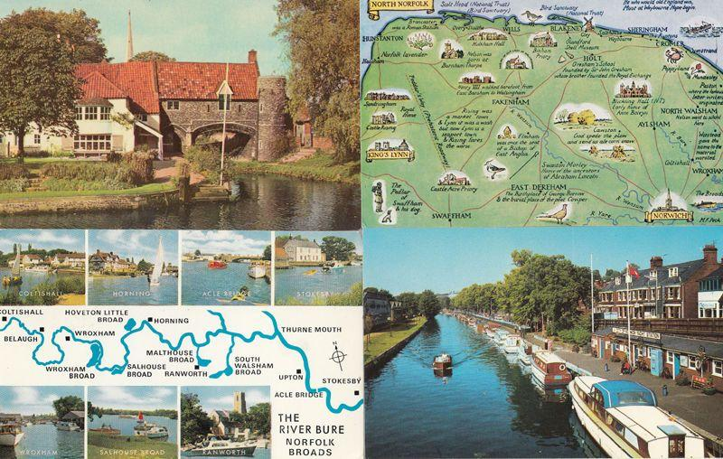 The River Bure Map 2x Norfolk Pulls Ferry Norwich Yacht Station 4x Postcard s