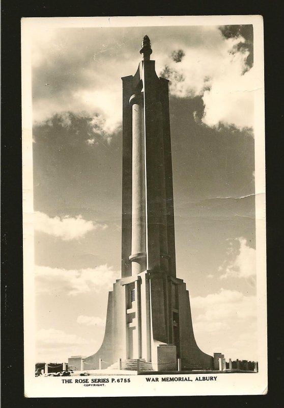 Australia War Memorial Albury NSW Rose Series P6755 Real Photo Postcard Unposted