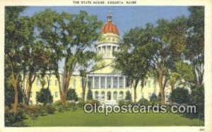 Augusta, Maine, ME State Capital USA Writing on back paper wear back side cor...