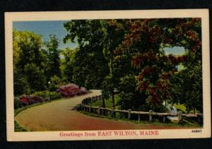 ME Greetings from EAST WILTON MAINE PC Postcard Linen