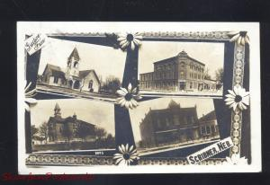 RPPC SCRIBNER NEBRASKA DOWNTOWN PUBLIC SCHOOL CHURCH REAL PHOTO POSTCARD