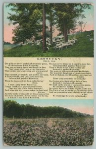 Kentucky~Sheep's In Field~Wild Flowers~Poem About State~Vintage PC