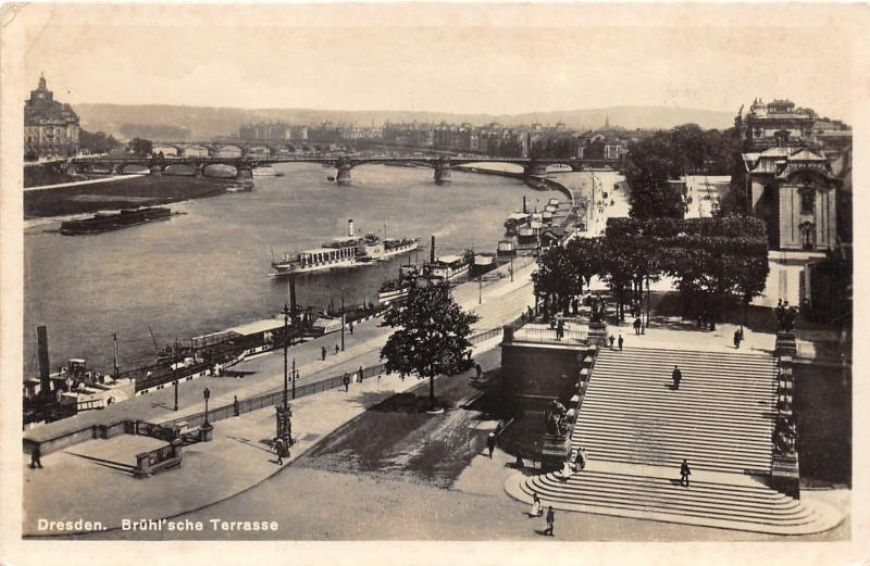 Dresden Germany~Brulsche Terrasse~Ship on River Rhine~Vintage RPPC