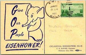 1953 Oklahoma Eisenhower Club Postcard w/ Inauguration Day ENID OK Cancel