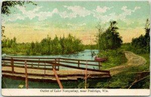 Peshtigo, Wisconsin Postcard Outlet of Lake Norcquebay Boating Scene c1910s