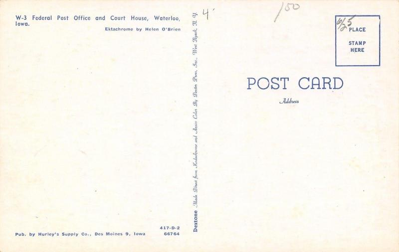 Waterloo Iowa Us Post Office Recruiter Posters Suv Wagon Postcard 1950s