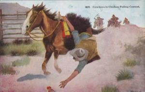 Cowboy & Horse Cowboy In Chicken Pulling Contest