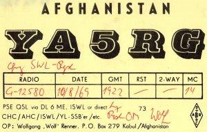 Kabul Afghanistan Amateur Radio QSL 1960s Card