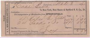 1876 Freight Receipt, NEW YORK, NEW HAVEN & HARTFORD R.R....