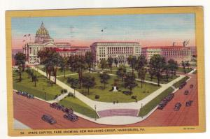 P557 JLs 1952 linen birds eye view old cars state capitol harrisburg penn