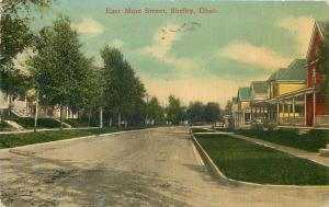 Shelby Ohio~Row of Big Old Homes on East Main Street~Trees on One Side~1913 pc