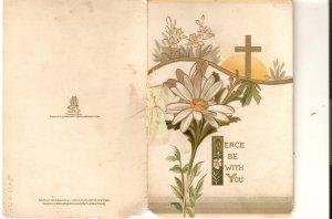 Daisy flower. Cross. Message Tuck  little Christmas Greetings card