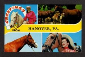 PA Greetings HANOVER PENN Postcard PC Horses Cowgirl Pennsylvania