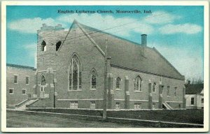 Monroeville, Indiana Postcard ENGLISH LUTHERAN CHURCH Building View c1920s