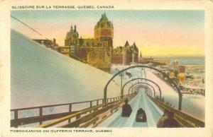 Tobogganing on Dufferin Terrace, Quebec, Canada  1946 Postcard