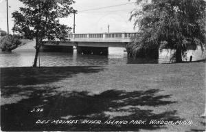 Windom Minnesota~Des Moines River Island Park~Bridge over River~1950 RPPC