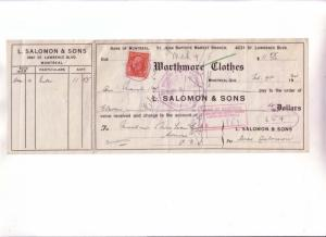Custom Cheque from L Salomon & Sons, Worthmore Clothes Montreal Quebec, Canad...