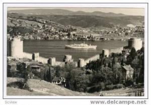 RP Oceanliner beyond castle walls, Jst. Rumelihisari, Turkey 30-50s