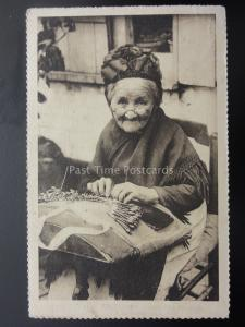 Belgium Bruxelles A LACEMAKER WOMAN c1934 Old Postcard by Marco Marcovici