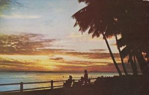 Hawaii Waikiki Beach At Sunset