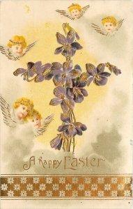 Easter~Winged Angel Faces Hover~Violets Flower Cross~Gold Leaf Emboss~Germany
