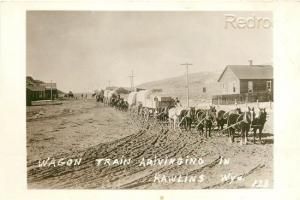 WY, Rawlings, Wyoming, Wagon Train Arivinging, Early Reproduction, No. 123, RPPC