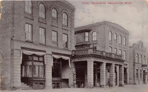 CROOKSTON MINNESOTA~HOTEL CROOKSTON~BARBER POLE~HARRY BRANDOW PUBL POSTCARD 1910