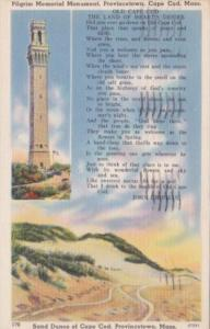 Massachusetts Cape Cod Pilgrim Memorial Monument and Sand Dunes Provincetown ...