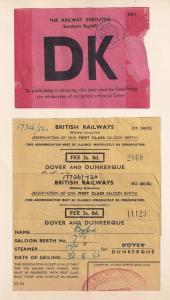 British Railway Dover to Dunkirk 3x 1952 Train Ship Receipt s