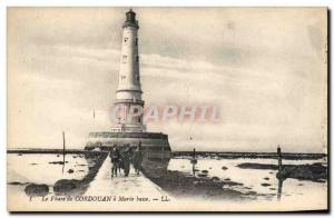 Old Postcard Cordouan lighthouse at low tide