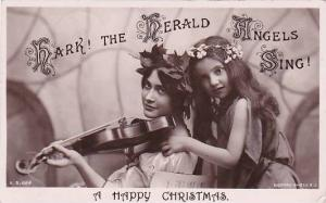Happy Christmas Young Girls With Violin Real Photo 1909