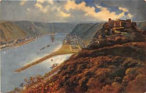 Ruine Rheinfels St Goar und St Goarshausen River Boats Castle Panorama Postcard