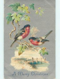 Pre-Linen christmas BEAUTIFUL BIRDS SITTING ON BRANCH OVER THE STREAM hr2845