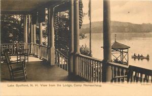 Lake Spofford NH~Lodge~Veranda Porch View Camp Namaschaug~Boats~1905 Sepia PC