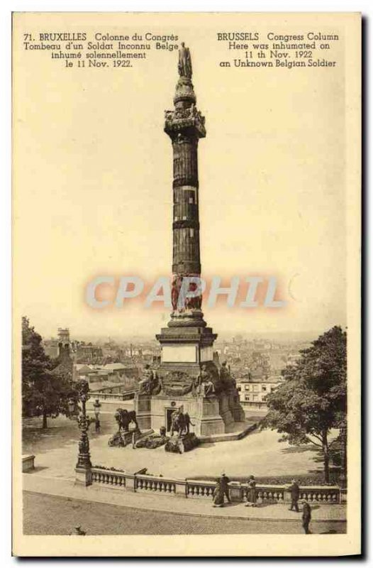 Old Postcard Congress of Brussels Column