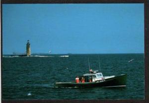 ME Ram Island Light Lighthouse Portland Maine Postcard PC Lobster Boat