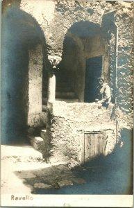 Vintage Real Photo Post Card RPPC Ravello Italy Courtyard w Man
