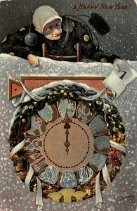 LP55 Chimney Sweep Zodiac Clock New Years Vintage Postcard Gel Finish