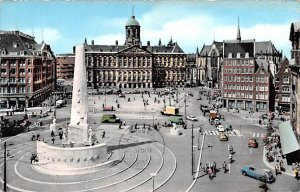 Dam with Royal Palace and National Monument Amsterdam Holland 1959