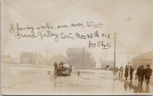 Grand Valley Ontario ON River St. Flooding c1908 JXN RPPC Postcard E63 *as is