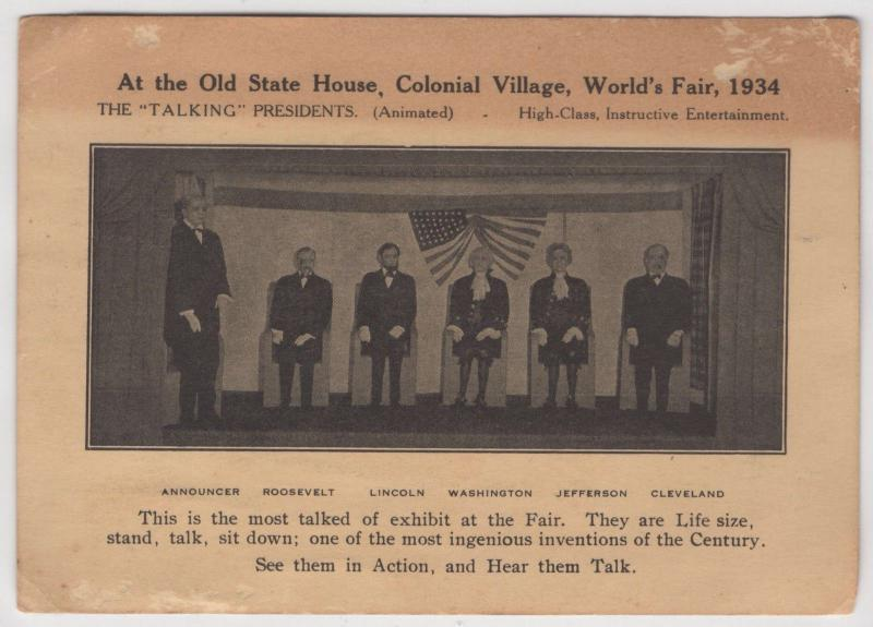 Old State House Colonial Village Animatronic Presidents Worlds Fair 1934 Ad Card