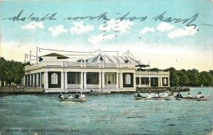 Minneapolis Minnesota~Pavillion~Lake Harriet~Couples in Rowboats~1910 Postcard