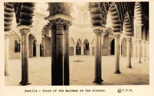RPPC Seville, Court of the Maidens at the Alcazar, Spain c1930s Vintage Postcard