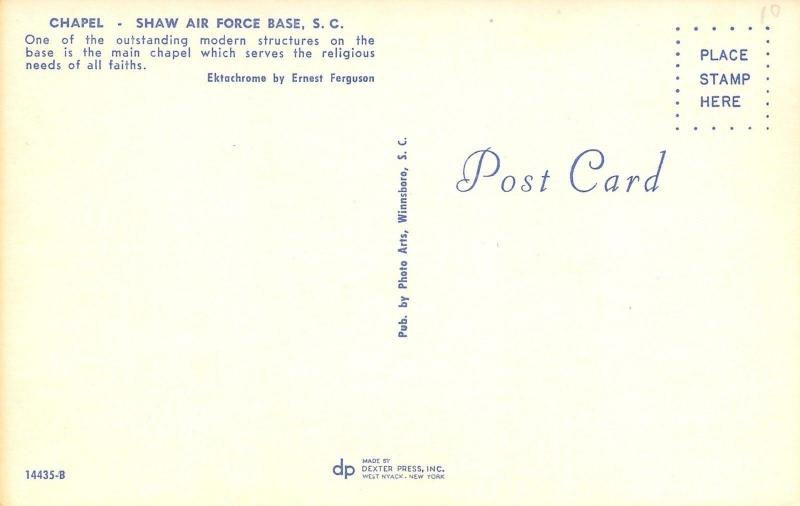 Shaw Air Force Base South Carolina~AFB Chapel~1960s Postcard
