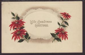 With Christmas Greetings,Poinsettias Postcard
