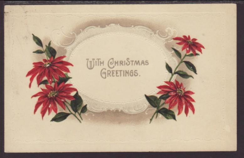 With Christmas Greetings,Poinsettias Postcard
